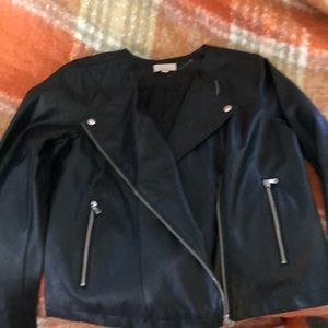Black Faux Leather Biker Jacket !